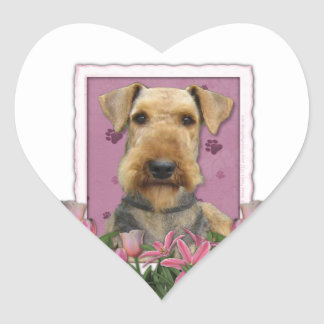Mothers Day - Pink Tulips - Airedale Heart Stickers