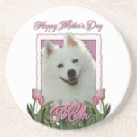 Mothers Day - Pink Tulips - American Eskimo Drink Coasters