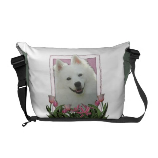Mothers Day - Pink Tulips - American Eskimo Messenger Bags
