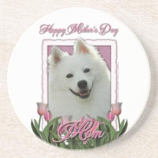 Mothers Day - Pink Tulips - American Eskimo Sandstone Coaster