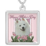Mothers Day - Pink Tulips - American Eskimo Square Pendant Necklace