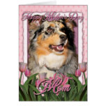 Mothers Day - Pink Tulips - Aussie - Gustine Greeting Card