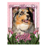 Mothers Day - Pink Tulips - Aussie - Gustine Postcard