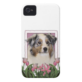 Mothers Day - Pink Tulips - Australia Shepherd iPhone 4 Case-Mate Cases