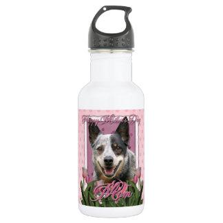 Mothers Day - Pink Tulips - Australian Cattle Dog 18oz Water Bottle