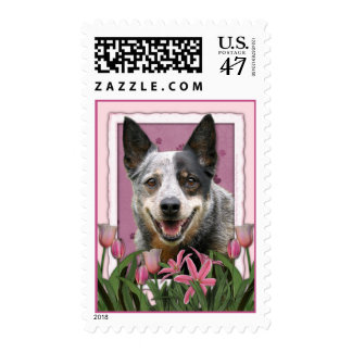 Mothers Day - Pink Tulips - Australian Cattle Dog Postage Stamp