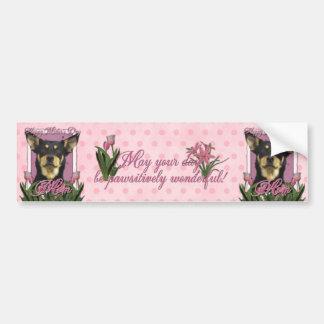 Mothers Day - Pink Tulips - Australian Kelpie Jude Bumper Sticker