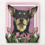 Mothers Day - Pink Tulips - Australian Kelpie Jude Mouse Pad