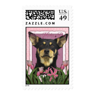 Mothers Day - Pink Tulips - Australian Kelpie Jude Postage Stamps