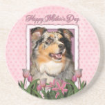Mothers Day - Pink Tulips - Australian Shepherd Coasters