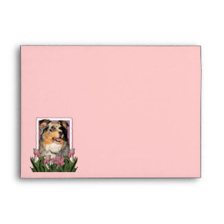 Mothers Day - Pink Tulips - Australian Shepherd Envelope