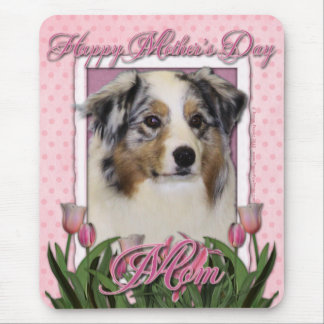 Mothers Day - Pink Tulips - Australian Shepherd Mouse Pad