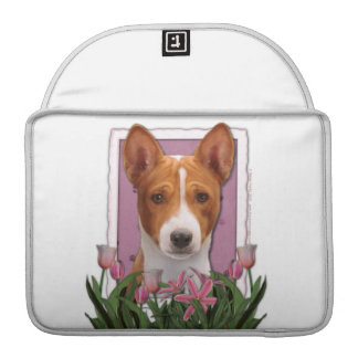 Mothers Day - Pink Tulips - Basenji Sleeves For MacBooks