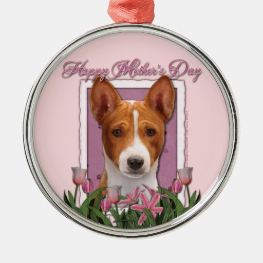 Mothers Day - Pink Tulips - Basenji Round Metal Christmas Ornament