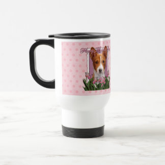 Mothers Day - Pink Tulips - Basenji Travel Mug
