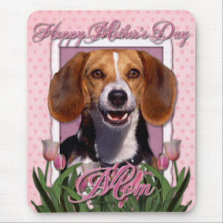 Mothers Day - Pink Tulips - Beagle Mouse Pad