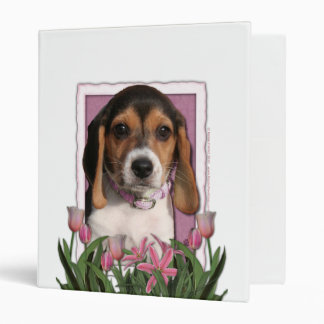 Mothers Day - Pink Tulips - Beagle Puppy 3 Ring Binder