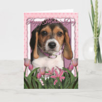 Mothers Day - Pink Tulips - Beagle Puppy Card