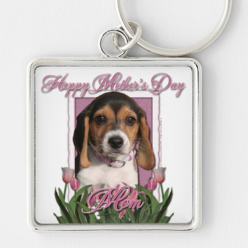 Mothers Day - Pink Tulips - Beagle Puppy Keychains