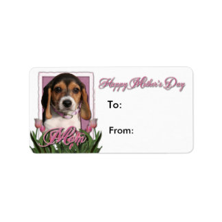 Mothers Day - Pink Tulips - Beagle Puppy Custom Address Labels