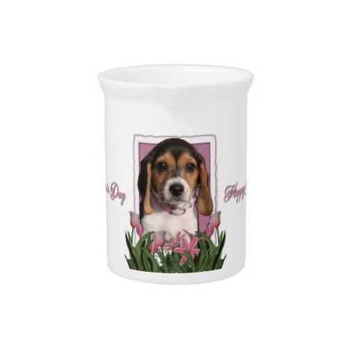 Mothers Day - Pink Tulips - Beagle Puppy Pitcher
