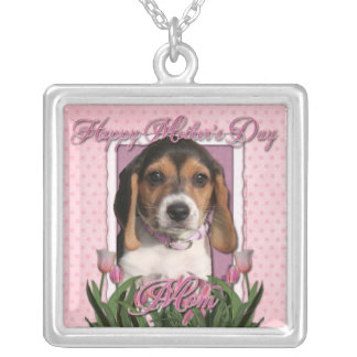 Mothers Day - Pink Tulips - Beagle Puppy Silver Plated Necklace