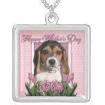 Mothers Day - Pink Tulips - Beagle Puppy Square Pendant Necklace