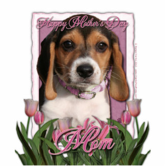 Mothers Day - Pink Tulips - Beagle Puppy Statuette