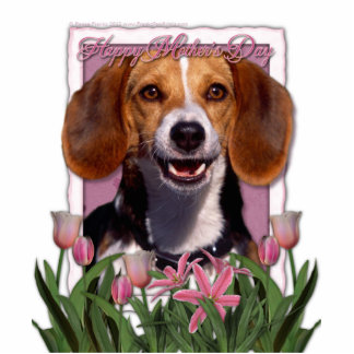 Mothers Day - Pink Tulips - Beagle Statuette