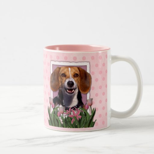 Mothers Day - Pink Tulips - Beagle Two-Tone Coffee Mug