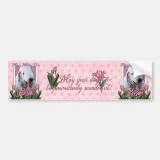Mothers Day - Pink Tulips - Bedlington Terrier Bumper Sticker