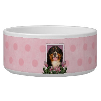 Mothers Day - Pink Tulips - Bernese Mountain Dog Bowl