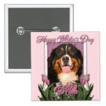 Mothers Day - Pink Tulips - Bernese Mountain Dog Buttons