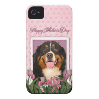 Mothers Day - Pink Tulips - Bernese Mountain Dog Case-Mate iPhone 4 Cases