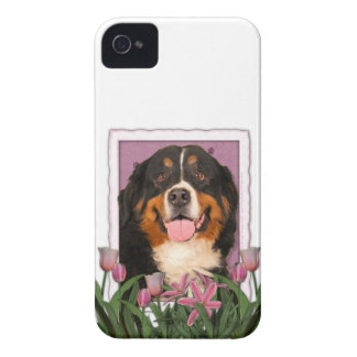 Mothers Day - Pink Tulips - Bernese Mountain Dog iPhone 4 Case-Mate Case