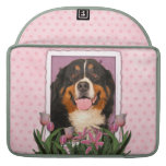 Mothers Day - Pink Tulips - Bernese Mountain Dog Sleeve For MacBook Pro