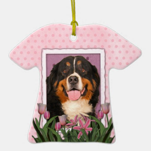 Mothers Day - Pink Tulips - Bernese Mountain Dog Christmas Tree Ornament