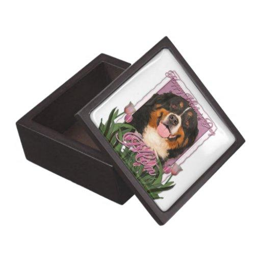 Mothers Day - Pink Tulips - Bernese Mountain Dog Premium Trinket Box