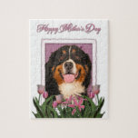 Mothers Day - Pink Tulips - Bernese Mountain Dog Jigsaw Puzzles