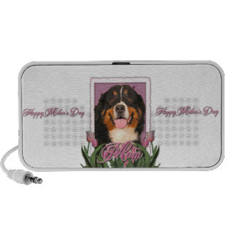 Mothers Day - Pink Tulips - Bernese Mountain Dog Travel Speakers