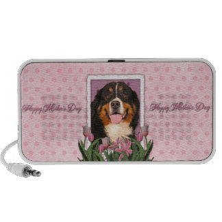Mothers Day - Pink Tulips - Bernese Mountain Dog Portable Speaker