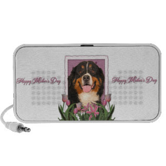 Mothers Day - Pink Tulips - Bernese Mountain Dog iPod Speaker
