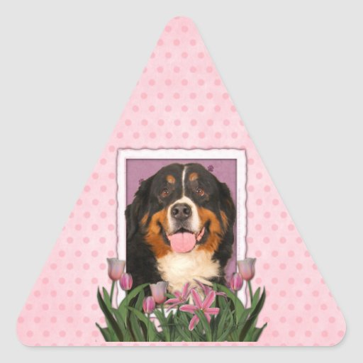 Mothers Day - Pink Tulips - Bernese Mountain Dog Triangle Sticker