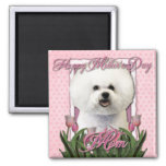 Mothers Day - Pink Tulips - Bichon Frise 2 Inch Square Magnet