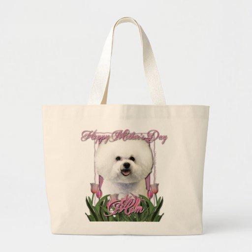 Mothers Day - Pink Tulips - Bichon Frise Jumbo Tote Bag