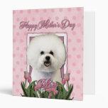 Mothers Day - Pink Tulips - Bichon Frise Vinyl Binder