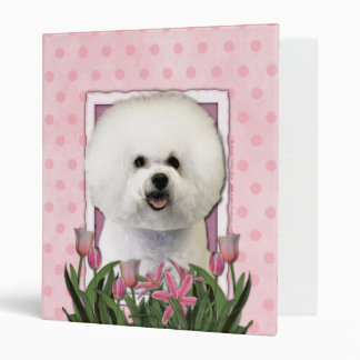 Mothers Day - Pink Tulips - Bichon Frise 3 Ring Binder