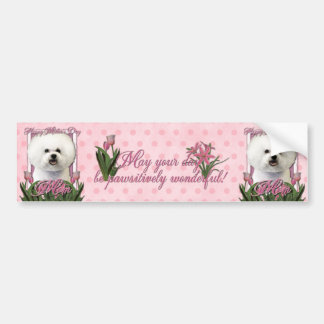 Mothers Day - Pink Tulips - Bichon Frise Car Bumper Sticker