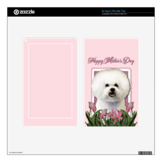 Mothers Day - Pink Tulips - Bichon Frise Decals For Kindle Fire