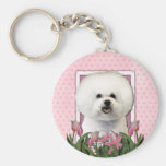Mothers Day - Pink Tulips - Bichon Frise Keychain
